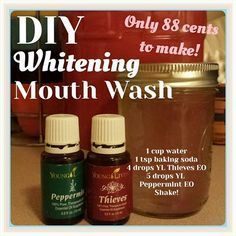 DIY Whitening Mouthwash with Young Living& Thieves and Peppermint Essential Oils! Check out the accompanying post for my info :) Yl Essential Oils, Young Living Essential Oils, Essential Oil Blends, Yl Oils, Peppermint Essential Oils, Essential Oil Spray, Peppermint Oil, Young Living Thieves, Young Living Oils