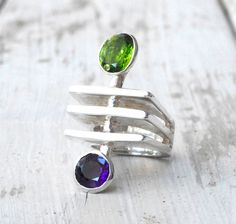 Green Peridot Purple Amethyst Ring, One-of-a-kind Sterling Silver Geometric Ring, Eccentric Architectural Avant-Garde Big Ring, Size 7. $320.00, via Etsy.