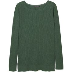 Violeta BY MANGO Metallic Sweater ($100) ❤ liked on Polyvore featuring tops, sweaters, jumpers, metallic top, green top, metallic sweater, round neck top and round neck sweater