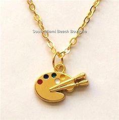 Gold Plated Artists Palette Necklace Pallet Artist Art Teacher Gift Enamel USA #Unbranded #Pendant
