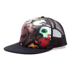 Little Big Planet Trucker Snapback Baseball Cap A trucker baseball cap with snapback adjustable flat brim. Made from 50% material and 50% netting this black cap has a stunning sublimation print on the front with a the Little Big Planet logo printed http://www.comparestoreprices.co.uk/baseball-caps/little-big-planet-trucker-snapback-baseball-cap.asp