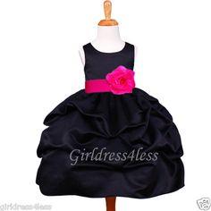 BLACK/FUCHSIA HOT PINK PICK UP WEDDING FLOWER GIRL DRESS 6M 12M 2 4 6 8 10 12
