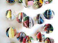 Pom pom garland, vintage book garland, Dimentional Garland,Birthday Party Garland, kids room decoration via Etsy