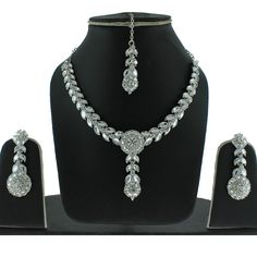 EXCELLENT DESIGN SILVER TONE CZ KUNDAN NEW STYLE NECKLACE EARRINGS TIKKA SET $29.99