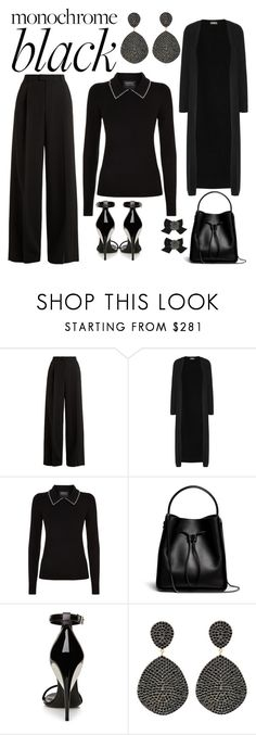 """Monochrome: All Black"" by kim-mcculley ❤ liked on Polyvore featuring RED Valentino, N.Peal, Markus Lupfer, 3.1 Phillip Lim, La Perla, Latelita, Kate Spade, monochrome and allblack"