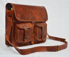 Real leather messenger laptop brown satchel natural briefcase vintage bag #Handmade #MessengerShoulderBag