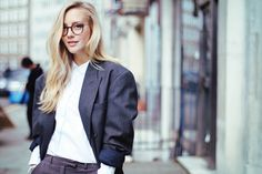 Love her spectacles and oversized mens blazer FRAMBOISE FASHION