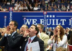 """""""Republican delegates from Iowa shout support of Ron Paul from the floor during the Republican National Convention at the Tampa Bay Times Forum in Tampa"""" -- The Washington Post"""