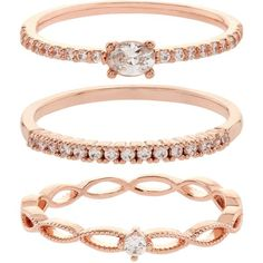 Accessorize Rose Gold Crystal Stacking Ring Set (444.510 IDR) ❤ liked on Polyvore featuring jewelry, rings, stackable rings, pink gold rings, crystal jewellery, red gold ring and stacking rings jewelry