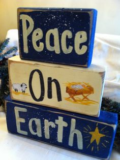 Peace on Earth sign chunky wood blocks Nativity scene hand painted. .