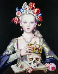 skull represents death; flowers, the girl and the book represent life