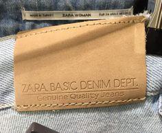 zara denim leather label