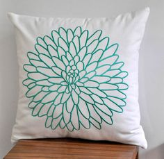 Pillow Cover Turquoise, White Linen Chrysant Flower, Decorative Throw Pillow Cover, 18 x 18 Accent Pillow Cover, Cushion Cover