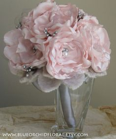 Bridal Bouquet Pink & Grey Wedding by BlueOrchidBridal on Etsy, $225.00: Love it but I couldn't pay that much.