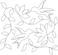Hummingbird and Flowers Coloring Page Rubber Stamp Quilting Stencils, Quilting Templates, Longarm Quilting, Free Motion Quilting, Embroidery Flowers Pattern, Embroidery Patterns Free, Hand Embroidery Patterns, Cross Stitch Embroidery, Machine Quilting Patterns