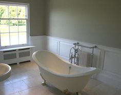 Wall Panelling - Painted wooden wall panels #BathroomInspiration #VictorianStyleBathroom #BathroomExtension