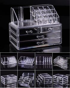 Clear Acrylic Cosmetic Organizer: makeup drawers, display box, cabinet case set #makeuporganizerbox