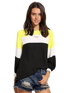 Floerns Womens Color Block Long Sleeve Casual Shirt Blouse Tops Multicolor L ** To view further for this item, visit the image link.Note:It is affiliate link to Amazon.