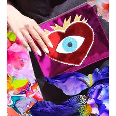 The quirky Poppy Lissiman Eye Heart You Clutch Glitter Clutch Bag, Novelty Bags, Quilting, Brown Bags, Sacred Heart, Cloth Bags, Fashion Bags, Fashion Handbags, Bag Making