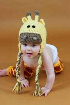 Toddler or Newborn Crochet Giraffe Hat by makinitmama on Etsy  I absolutely love all her hats!!