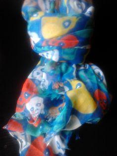 pañuelo de calaveras azul