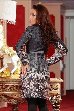 Palton gri de iarna cu imprimeu floral | Paltoane Dama Elegante