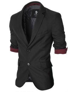 MODERNO Mens Casual Slim Fit Blazer (MOD14514B) Black