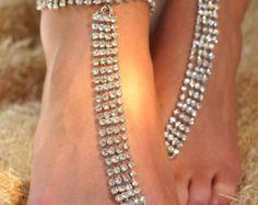 Rhinestone barefoot sandals, slave anklet, rhinestone, wedding day jewelry, special occasion jewelry, chain anklet, rhinestone anklet