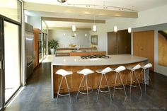 #Kitchen Idea of the Day: Modern Light Wood Kitchen with three islands.