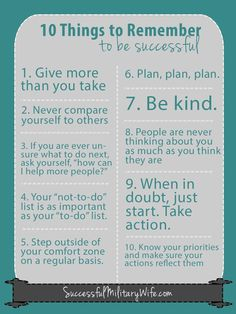 10 things to remember to be successful. successfulmilitarywife.com