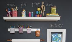Paint a wall with chalkboard paint and then hang shelves for easy labeling. | 41 Clever Organizational Ideas For Your Child's Playroom
