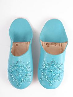 Aquamarine Moroccan Leather Babouche Slippers