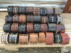 Punk Men Women Wide Genuine Leather Belt Bracelet Cuff Wristband Bangle (USA)…