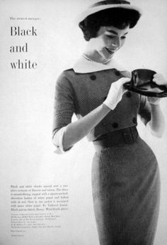 Black and white fashion for Mademoiselle, 1959.