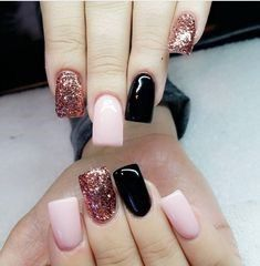 """The cool thing about accent nails is that you don't need a design on every finger. Try adding black accents on all ten nails or compliment one or two. """"It can be tricky incorporating black accents to nails,"""" saysA base of silver or gold will always work, but to go bolder and more exciting, use … … Continue reading →"""