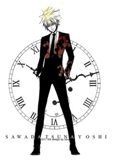 There is a clock behind him.  The clock symbolizes Homura.  It is a reference to Homura because she is associated with time.  This is a Tsumura picture.