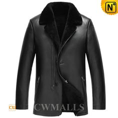 CWMALLS Black Shearling Leather Blazers for Men CW857051 Handsome black shearling leather blazer, crafted from natural sheepskin with lamb fur lining, classic black color, notched collar, buttons and half zipper closure, you will stay toasty and stylish in this black shearling blazer jacket. www.cwmalls.com PayPal Available (Price: $1487.89) Email:sales@cwmalls.com