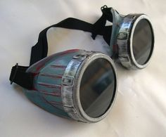STEAMPUNK Cyber Goggles - Antique Distressed Two - Tone SILVER and PATINA