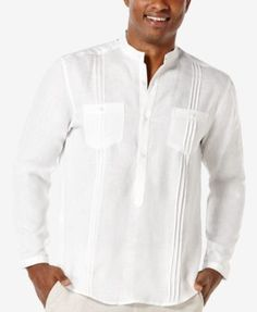 An easy, casual look that is also easy to care for, this linen popover shirt from Cubavera includes two chest pockets and textured vertical stripes. Mens Beach Shirts, Casual Button Down Shirts, Casual Shirts, Mens Beach Wedding Attire, Guayabera Shirt, Mexican Outfit, Shirt Style, Long Sleeve Shirts, Mens White Linen Shirt
