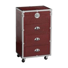 Cabinet, 3 Drawers/Hinged Lid, Red Crocodile Leather Effect/Stainless steel