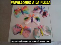 Papallones fetes amb filtres de cafè pintats amb retoladors perquè amb aigua de pluja barregin els colors i creïn tonalitats precioses. Molt primaveral. Butterfly, Animals, Spring, Colors, Manualidades, Animales, Animaux, Animal, Animais