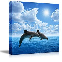 Canvas Prints Wall Art - Two Dolphins Jumping on the Clea... https://www.amazon.com/dp/B00UASDGV2/ref=cm_sw_r_pi_dp_x_nZh7xbD0KY70K
