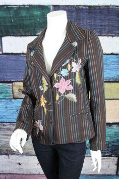 Johnny Was Brown Blue Striped Floral Embroidered Cotton Blazer Jacket MEDIUM M #JohnnyWas #Blazer