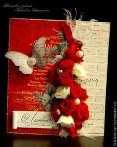 """Купить Валентинка """"Плетистая роза"""" - ярко-красный, красные розы, валентинка, открытка на 14 февраля"""