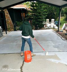 How to install beautiful stamped concrete tiles for the look of stamped concrete for a fraction of the cost! Diy Stamped Concrete, Concrete Tiles, Stained Concrete, Cement Driveway, Flagstone, Diy Painting, Covered Patios, Bougainvillea, Driveways