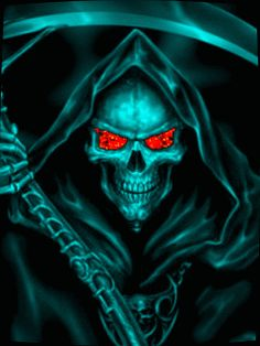 scary fire Skulls animated   The Grim - Reaper