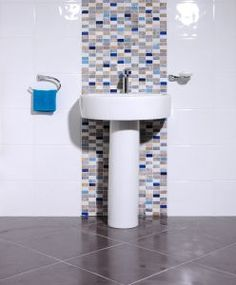 Bumpy Gloss White/Blue Oblong White Wall Tiles, White Bathroom Tiles, Kitchen Tiles, Tile Floor, Mosaic, Sink, Flooring, Blue, Home Decor