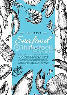 Vector Art : Vector vintage seafood restaurant flyer.