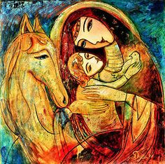 Madonna And Child Originals - Mother with Child on horse by Shijun Munns