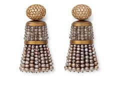 Hemmerle tassel earrings in white gold and copper with natural pearls and diamonds